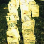 Luminarias in memory of cancer survivors and victims.