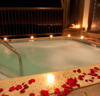 Romantic hot tub at night